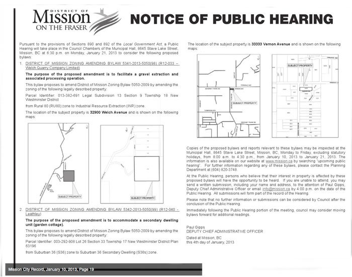 Mission City Record - Public Hearing Notice