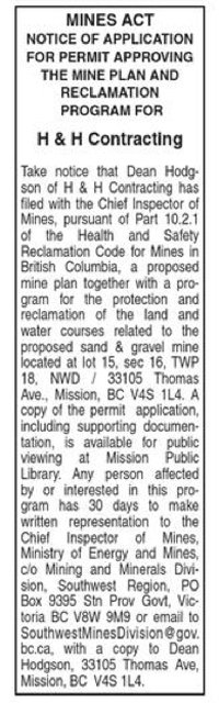 Notice of Application for Permit Approving The Mine Plan & Reclamation Program for H & H Contracting